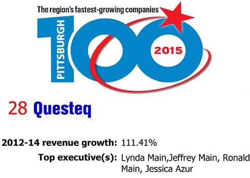 2015 Questeq Pittsburgh Business Times Top 100